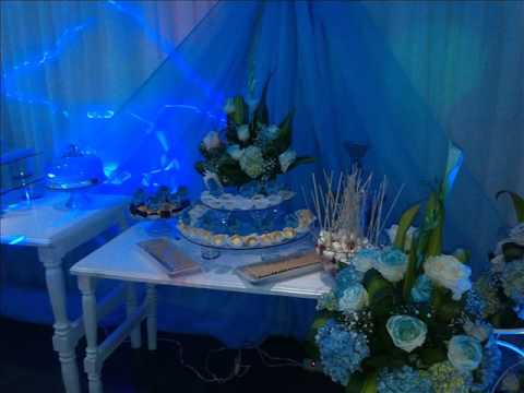 Decoracion 15 a os vintage azul youtube for Decoracion para quince anos