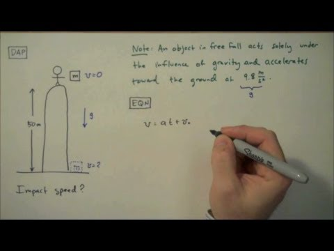 How To Solve A Free Fall Problem Simple Example Youtube