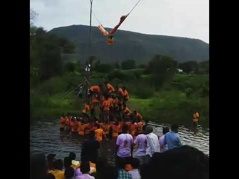 Indias first Dahihandi in water at wai,maharashtra