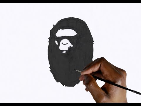 HOW TO DRAW THE BAPE LOGO ! (BAPE HEAD)