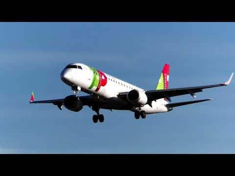 TAP Express ERJ190 landing Lisbon Airport CS-TPR