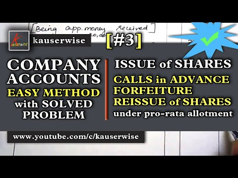 Company Accounts - Issue of Shares#3 [Calls in Advance - Forfeiture and Reissue of shares - Prorata]
