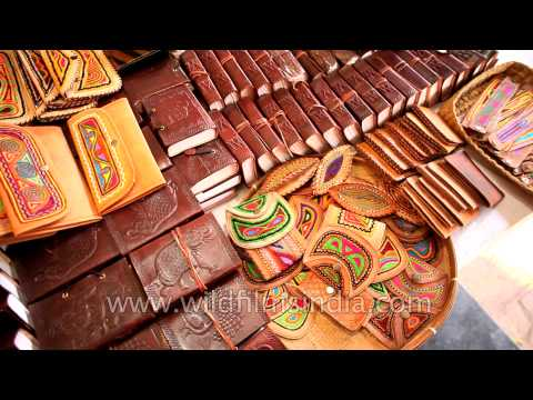 Ethnic Indian leather bags in Dilli Haat