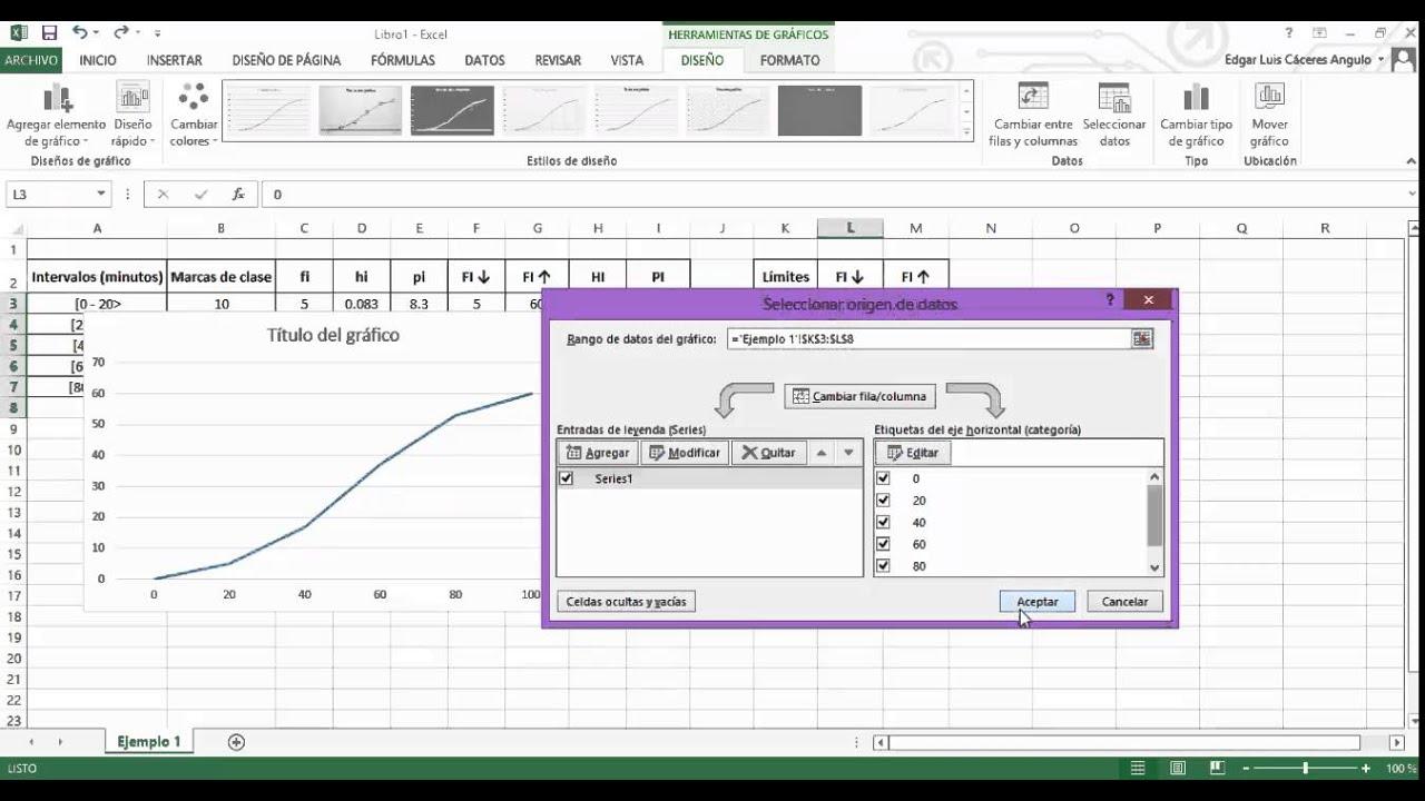 Ojiva En Excel Youtube