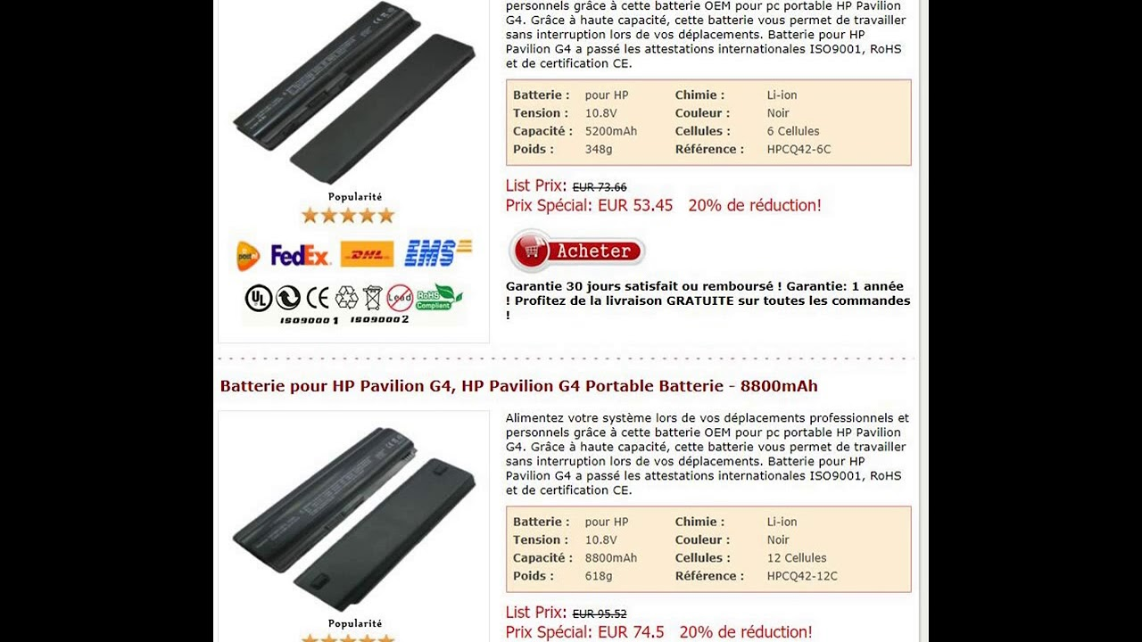 Batterie pour HP Pavilion G4, HP Pavilion G4 Portable Batterie - YouTube