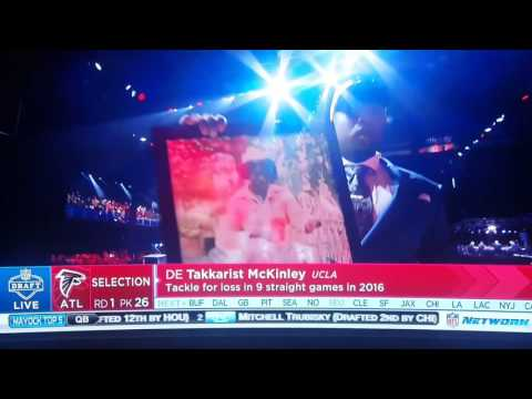 Takkarist McKinley selected 26th in the 2017 NFL Draft by the Falcons drops F bomb on live TV. NSFW