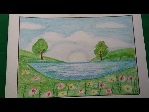 How to draw landscape scenery, step by step drawing for kids and beginners