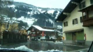 Driving through Zell am Ziller in Zillertal, Austria