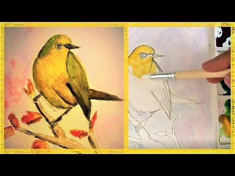 watercolor painting tutorial bird realtime