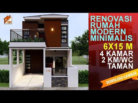 Desain Rumah Modern Minimalis 2 Lantai Lahan 6x15 meter