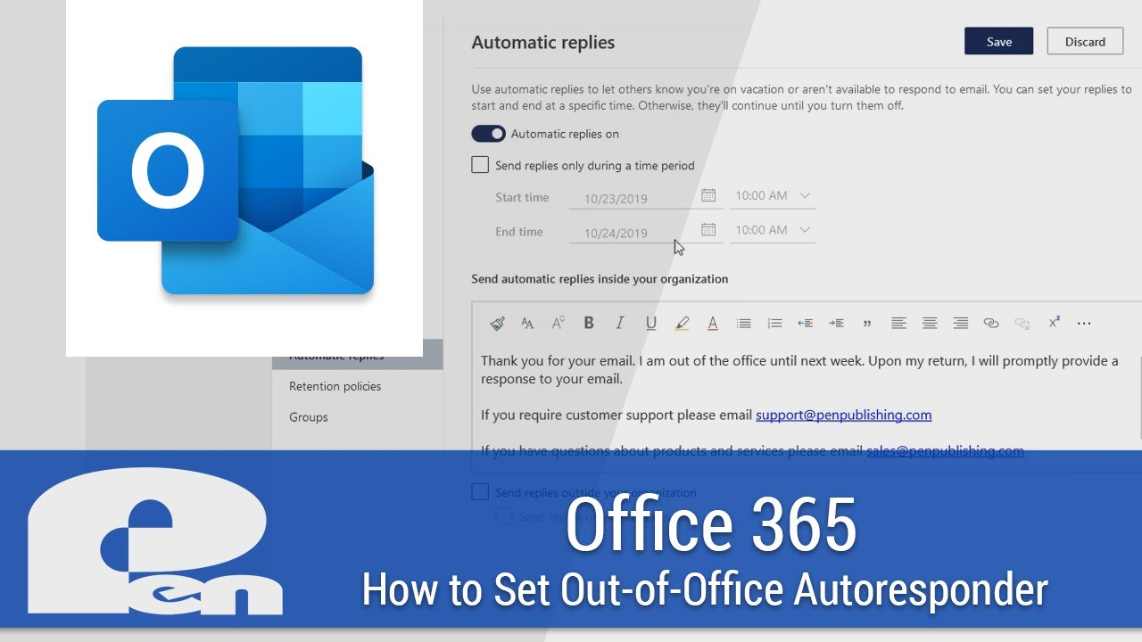 How To Set Out Of Office Autoresponder In Outlook Office 365 Youtube Office 365 email login portal