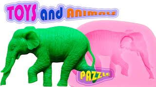 CARTOONS PUZZLE WILD ANIMALS and natural animals We learn the name of animals in English for kids