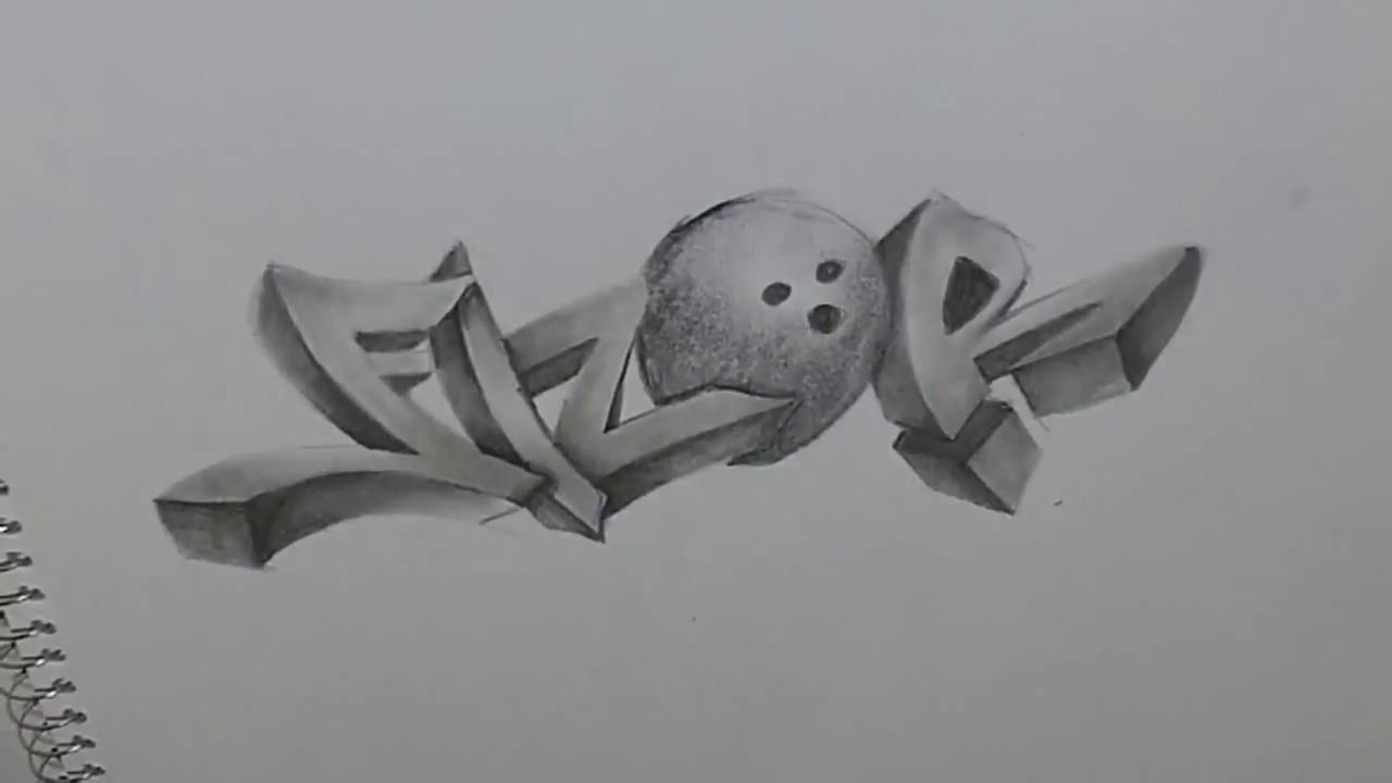 como hacer graffiti 3d a lapiz fizor youtube