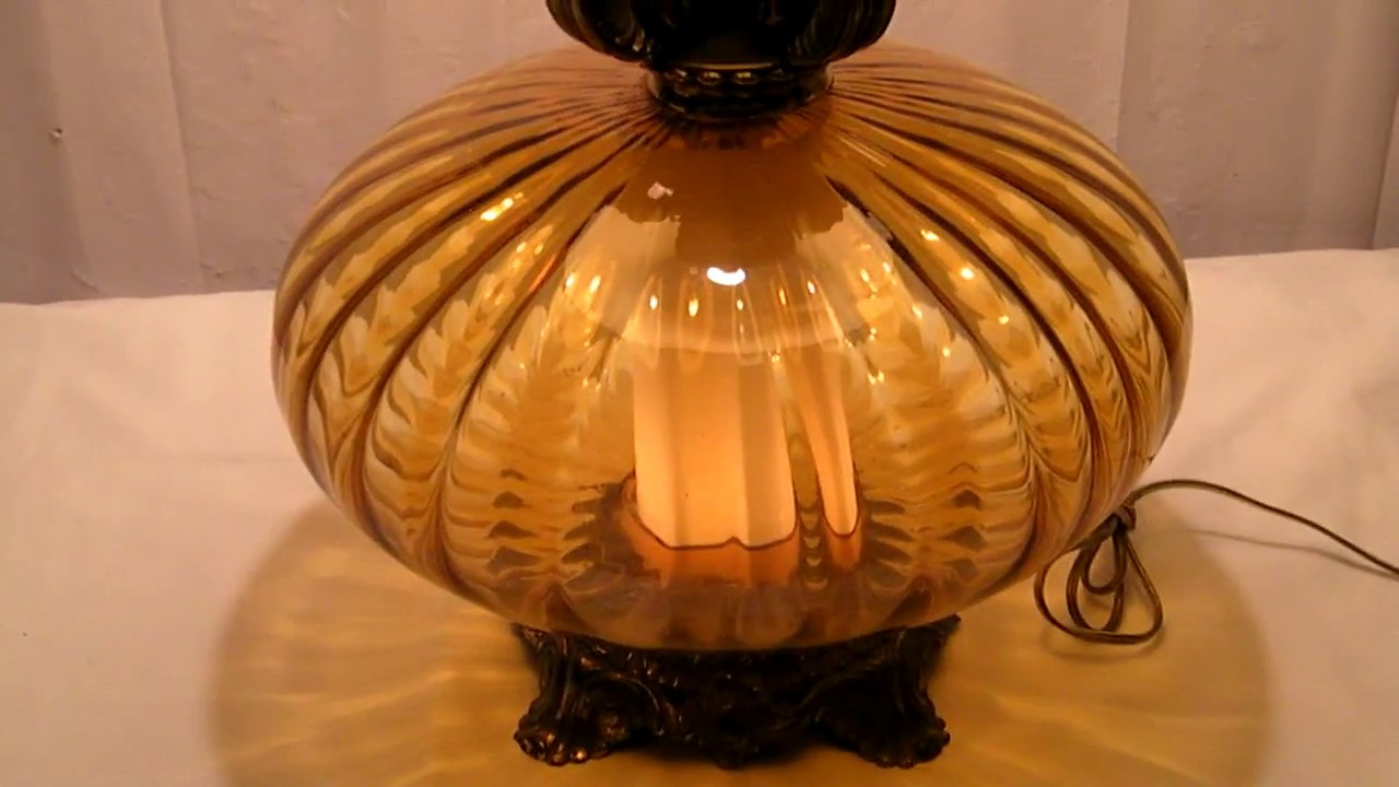 Vintage Mid Century Amber Glass Table Lamp Youtube