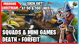 🔴 Squads, FFA's & Mini Games W/Subscribers | Skin Gifting! | Death = Forfeit | Fortnite Live 🔴