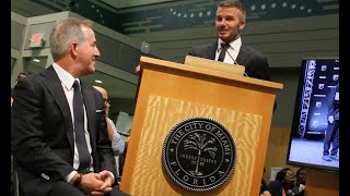 David Beckham and Jorge Mas pitch to city commission on Miami soccer stadium