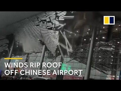 Winds rip roof off Chinese airport in Jiangxi province