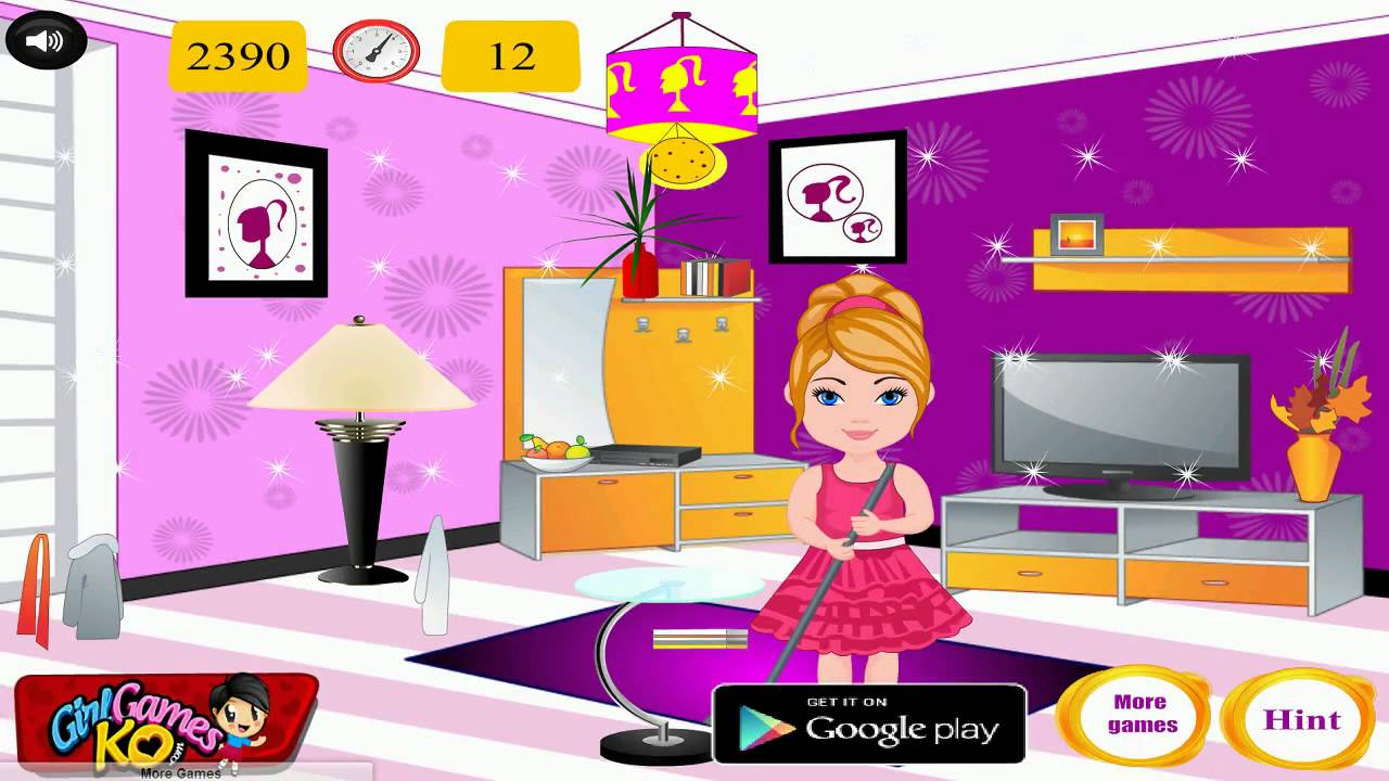 barbie room cleaner baby games video for kids 2014 room cleaning movie