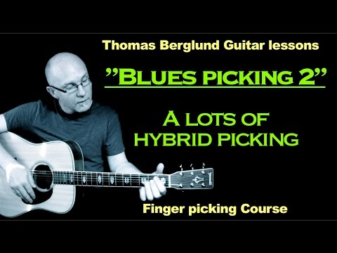 "Blues picking Guitar lesson ""part 2"" (comping with hybrid picking) - Hybrid picking lesson"