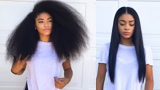 Curly to Straight Hair Tutorial (updated) - How to Get Rid of Frizzy Ends | jasmeannnn thumbnail