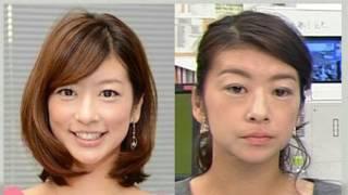 """生野陽子アナが化粧の途中でテレビに出演し、""""ほぼすっぴん""""を披露する..."""