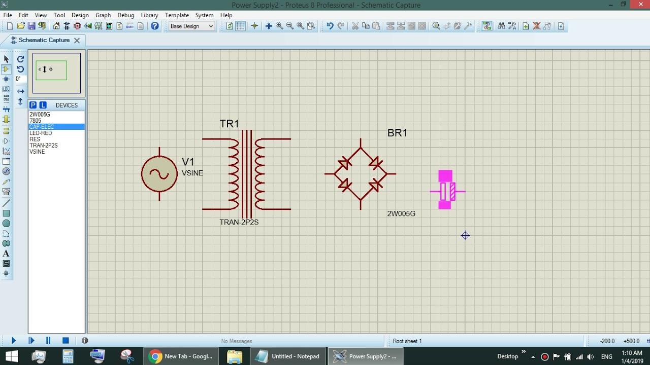 5V DC Power Supply using LM7805 Regulator (Proteus Simulation)