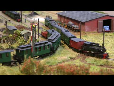 Something very rare: Model railway in TT scale with hand-built steam locomotives of Pomerania
