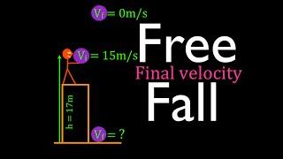 Physics, Kinematics, Free Fąll (10 of 12) Final Velocity at Bottom