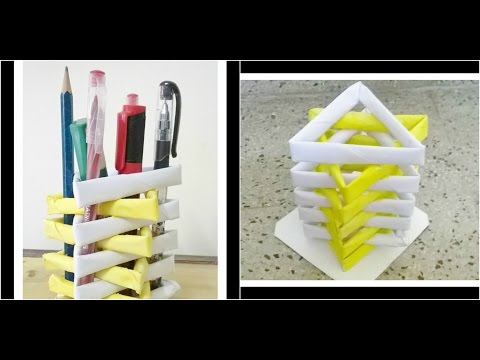 How to make a pen stand from waste material || DIY Paper Penholder