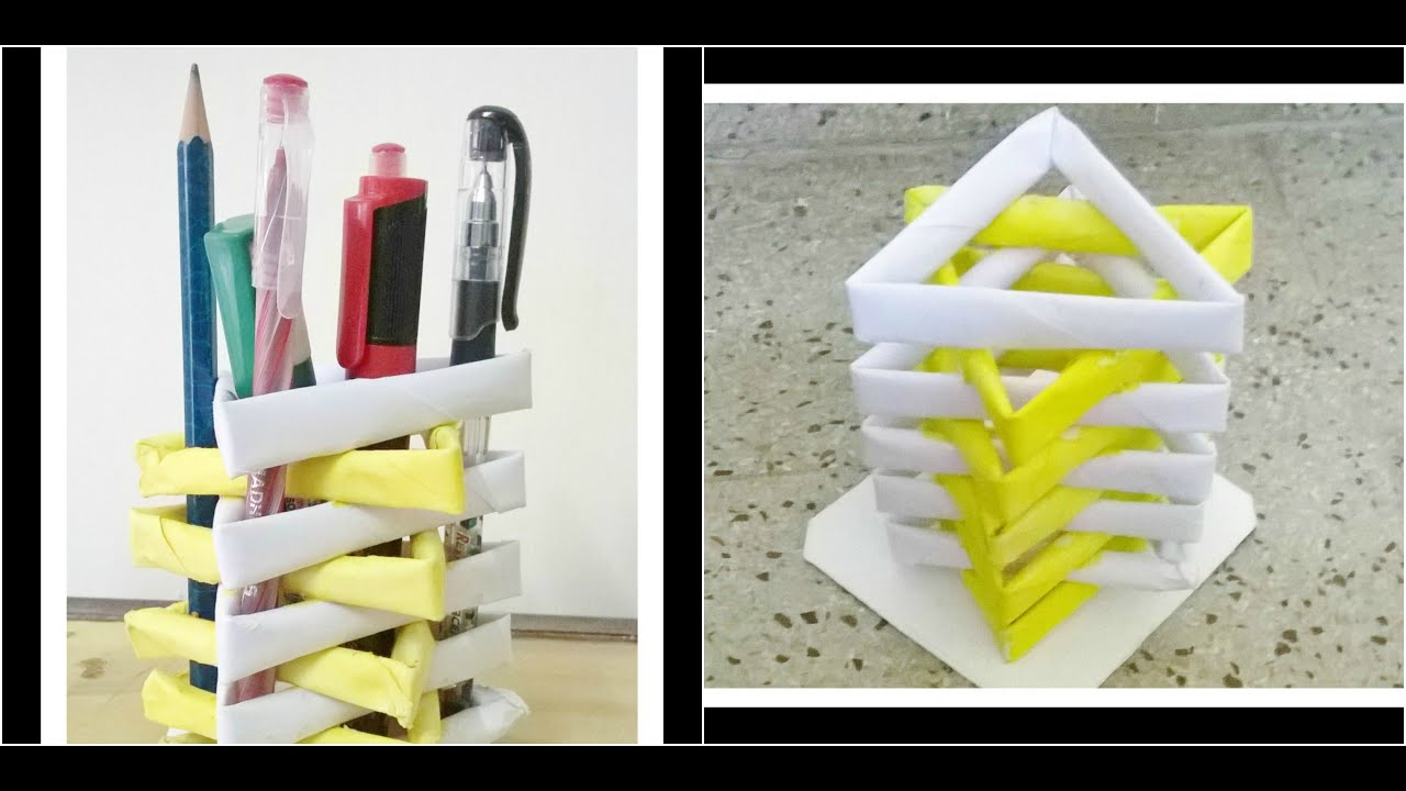 How to make a pen stand from waste material diy paper for Craft model with waste material
