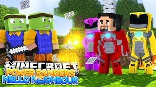 Minecraft Adventure - POWER RANGERS VS HELLO NEIGHBOUR