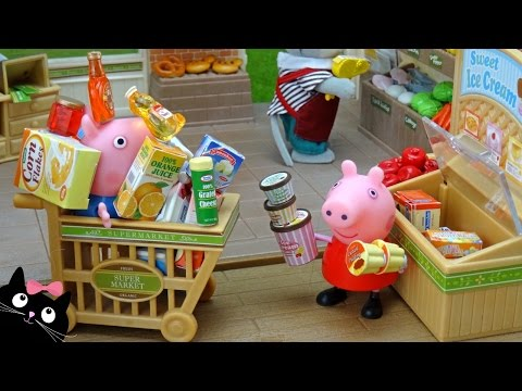 Peppa Pig y George hacen la Compra del Supermercado -  Vídeos de Juguetes Peppa Pig en Español
