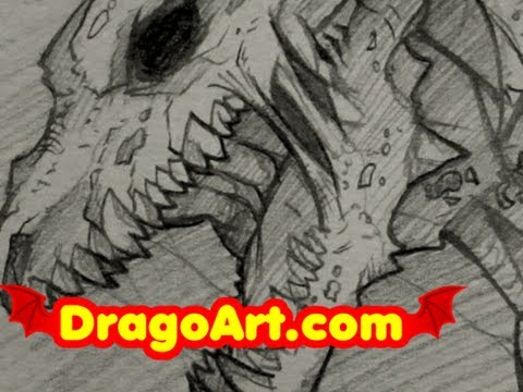 How To Draw A Dragon Zombie Sketch Step By In Pencil