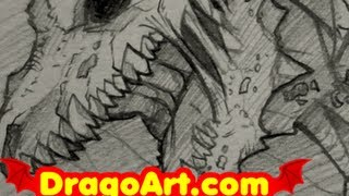 How to Draw a Dragon, Zombie Dragon Sketch, Step by Step, In Pencil