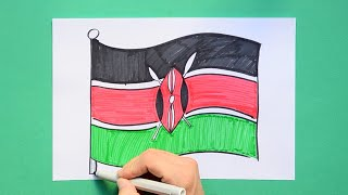 How to draw and color the National Flag of Kenya