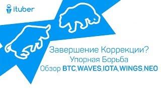 Завершение Коррекции? Упорная Борьба. Обзор BitCoin BTC, WAVES, IOTA, WINGS, NEO