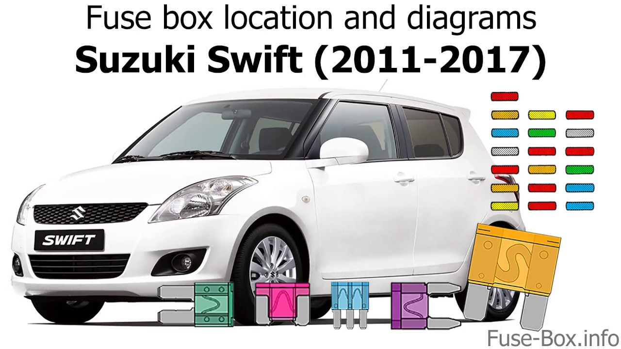 fuse box location and diagrams suzuki swift 2011 2017  [ 1280 x 720 Pixel ]