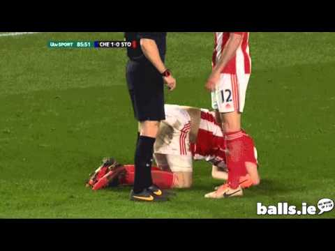 Ryan Shawcross gets hit on his crown jewels!