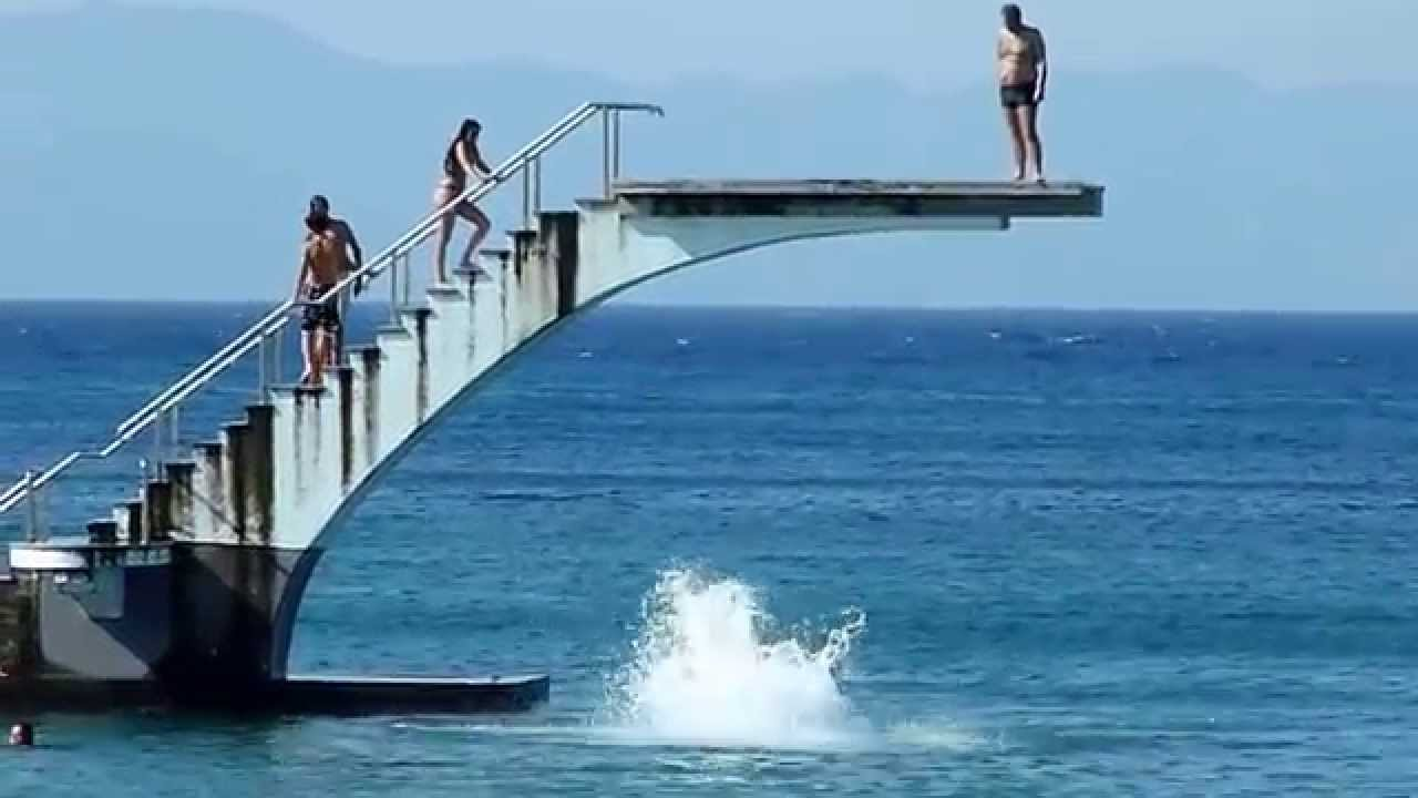Diving Board On Elli Beach In Rhodes Youtube