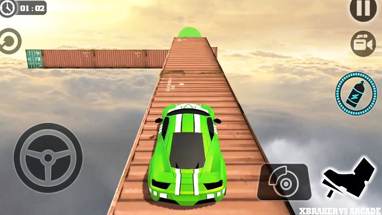 Impossible Stunt Car Tracks 3D Green Vehicle Driving levels 3 to 8 - Android GamePlay 2019