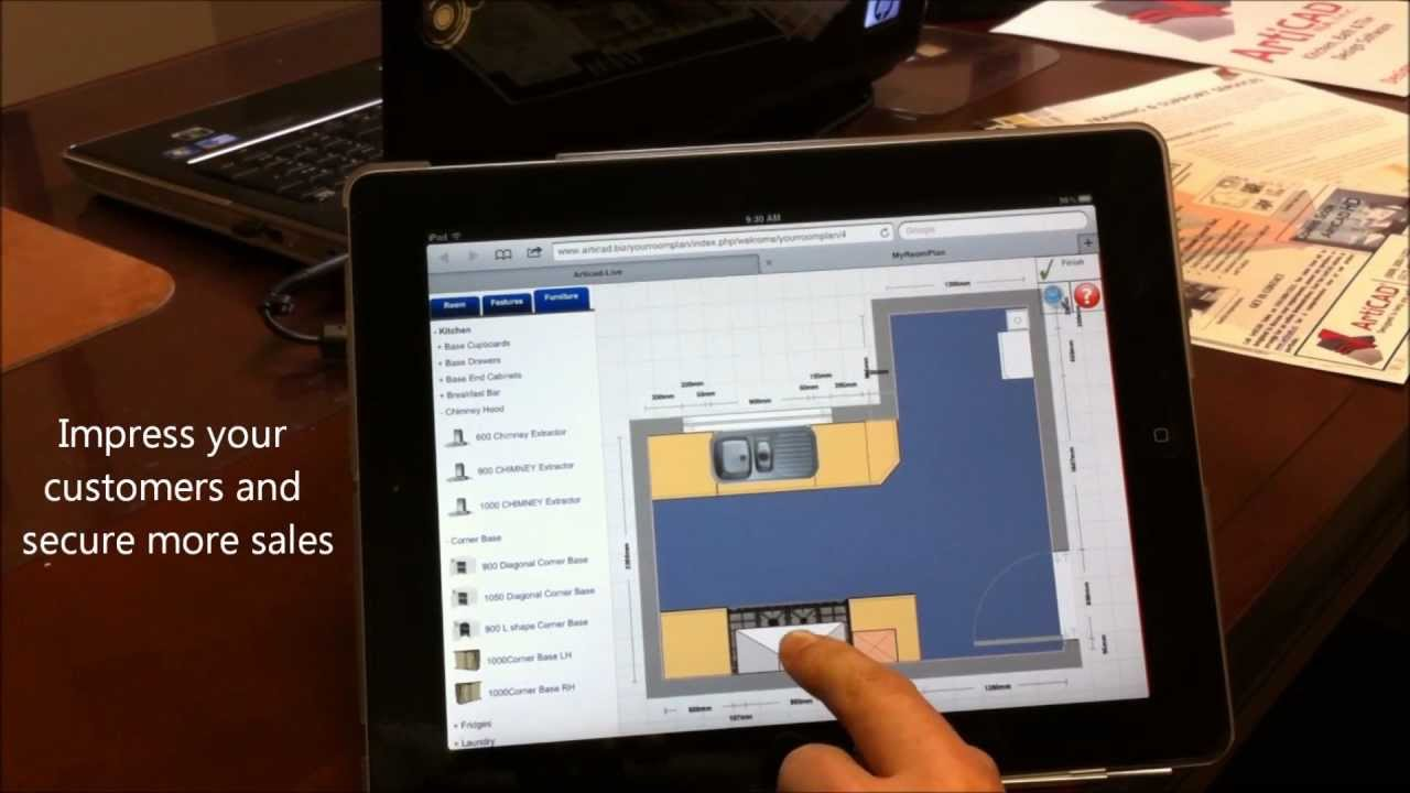 Design a kitchen on an ipad with my room plan from articad youtube Kitchen design program for ipad