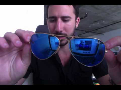 ray ban aviator 55mm polarized  Ray-Ban RB 3025 112/4L Blue Mirror Polarized Aviators Review - YouTube