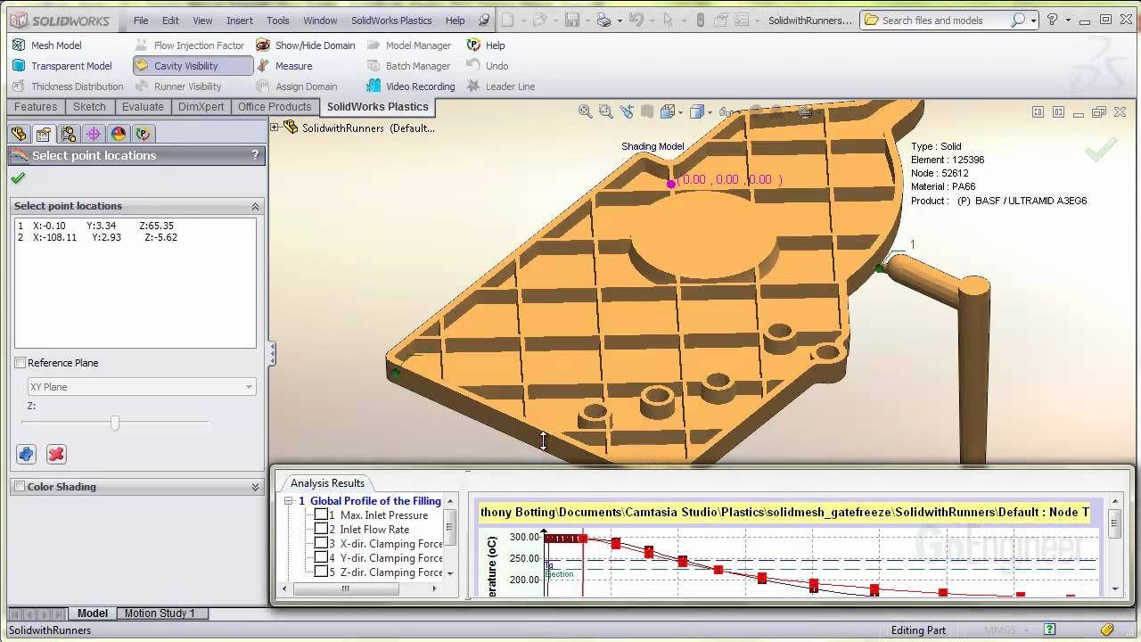 SolidWorks Plastics - Gate Freeze Indicators
