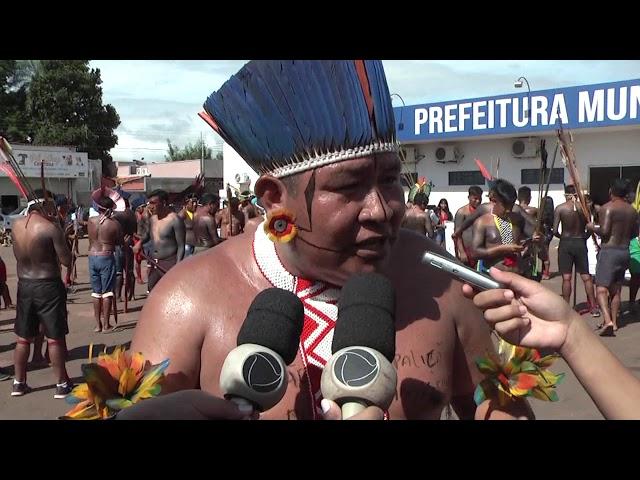 Indígenas das etnias apyãwa Tapirapé e Maxakali se manifestam em Confresa contra a estadualização da