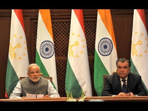 PM Modi and President of Tajikistan Emomali Rahmon at Signing of Agreement & Joint Press Statement