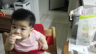 (순우) 6개월 아기 간식 섭취 구수한 유기농 쌀과자 …