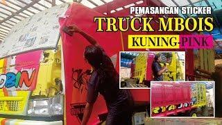 TRUCK MBOIS!!.. PEMASANGAN STIKER TRUCK KUNING PINK -SURYA JATI-