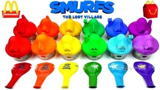 2017 McDONALD'S SMURFS HAPPY MEAL TOYS BALLOONS THE LOST VILLAGE MOVIE 3 FULL WORLD SET COLLECTION