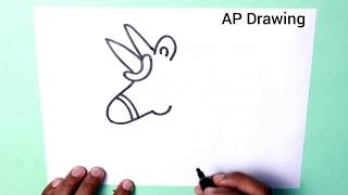 How to draw cute Unicorn step by step - learning drawing for kids doodle art on paper
