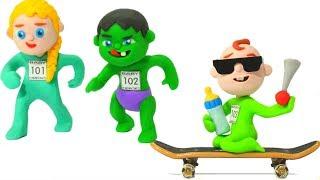 Superhero Babies Big Race ❤  Hulk & Frozen Elsa Cartoons For Kids ❤ Play Doh Cartoons & Stop Motion